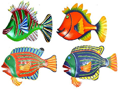 CLEARANCE SET 4 LARGE BEAUTIFUL UNIQUE FISH METAL HANGING WALL ART SCRATCH AND DENT SALE