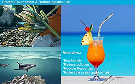 LEEPES Reusable Drinking Straw Set Healthy and Safe for Cold Drink and Hot Drink Easy to Clean ,Metal Straws with 2 Cleaning Brushes 8 Pack