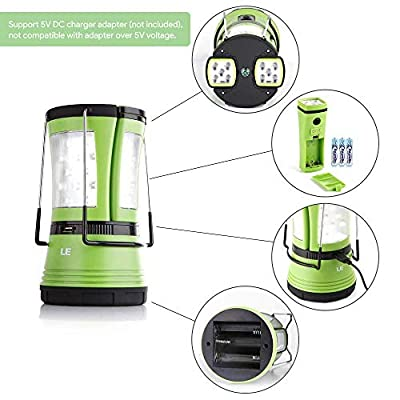 LE Rechargeable LED Camping Lantern, 600lm, Detachable Flashlight, Portable Tent Light with USB Cable and Car Charger for Outdoor, Hiking, Fishing, Emergency and More