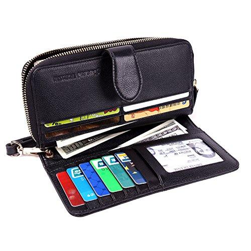 Womens Wallets RFID Ladies Clutch Leather Zip Around Travel Purse Wrist Strap (Black Model 2) ()