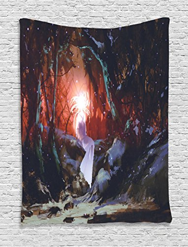 Ambesonne Fantasy Art House Decor Tapestry by, Surreal Ghost Girl of Enchanted Forest in Dark Woods Fairy Tale Display, Wall Hanging for Bedroom Living Room Dorm, 60WX80L Inches, (Surreal Fantasy Art)