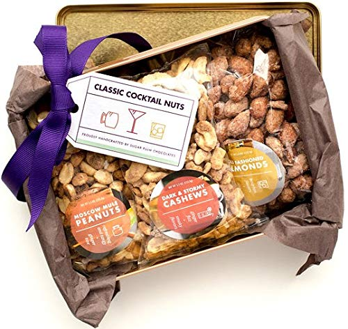 Party Classic Cocktails Nut Tin: Old Fashioned Almonds, Cosmopolitan Cashews, and Moscow Mule Peanuts, Great for Fathers Day, Mother's Day, Christmas, Birthdays,Game Day, Kosher By Sugar Plum ()