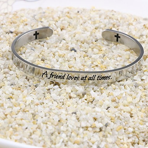 Yiyang Friendship Bracelets Chirstian Jewelry Positive Cuff Bangle Memorial Gift Proverb Engraved A Friend Loves at All Times by Yiyang (Image #4)