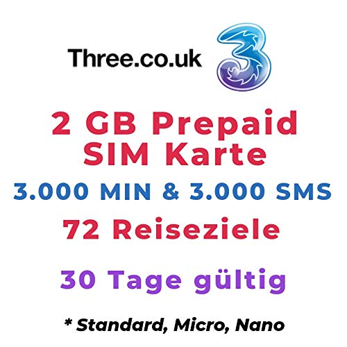 Three UK Prepaid Europe SIM with up to 12GB data for 42 countries for 30 days by Three SIM