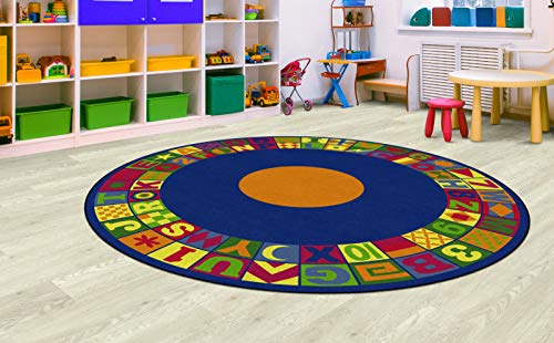 (Flagship Carpets FE148-87A Floors That Teach Activity Rug, Ideal for Circle Time and Other Activities, Children's Classroom Educational Carpet, 8' Round, 96