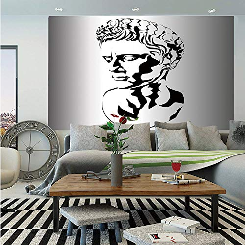 - Toga Party Huge Photo Wall Mural,Graphic Statue Design of Augustus Roman Emperor Ruler Ancient Artwork Decorative,Self-Adhesive Large Wallpaper for Home Decor 108x152 inches,Grey Black White