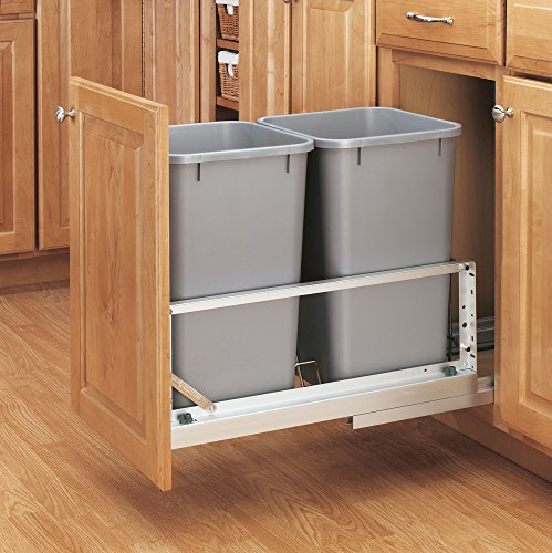 Aluminum Brushed Shelf - Rev-A-Shelf - 5349-1527DM-217 - Double 27 Qt. Pull-Out Brushed Aluminum and Silver Waste Container