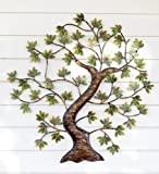 Metal Twisted Tree with Green Foliage Indoor/Outdoor Wall Art