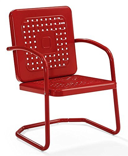 Crosley Furniture Bates Patio Chair in Red (Set of 2)