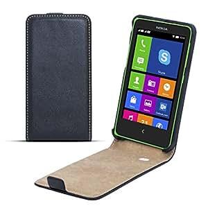 Moozy premium magnética delgada funda Flip Nokia X Caso / Cover / Bolsa Libro Billetera vertical Negro Frc