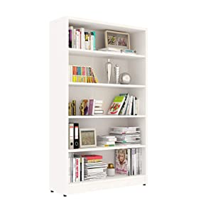 Sunon Collection Wood Bookcase Freestanding Display Shelf for Home and Office (5-Shelf, White)