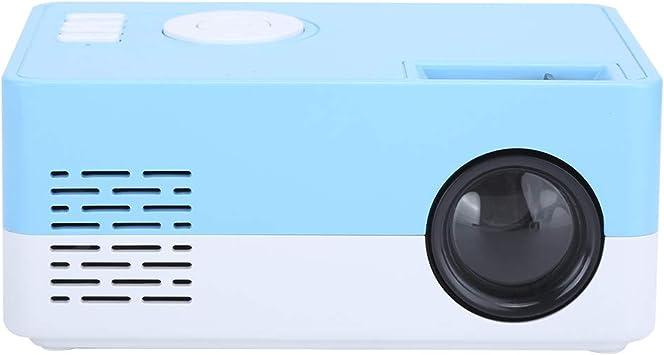 Opinión sobre Garsentx Mini proyector LED, proyector de Video de Cine en casa portátil de Alta definición de 1080p, Entretenimiento al Aire Libre con interfaces HDMI USB AV, Azul Blanco(EU)