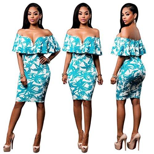 Women Off Shoulder Dress,Laimeng Off Shoulder Casual Straight V-collar Sleeveless Mini Dresses (M, Blue)