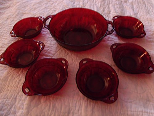 Vintage Anchor Hocking Ruby Red Coronation Berry Bowl Set of 6 Bowls and 1 Large Serving Bowl