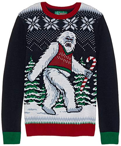 (Ugly Christmas Sweater Company Men's Ugly Christmas Sweater - Light-Up Abominable Snowman, Twilight Xmas, Small)
