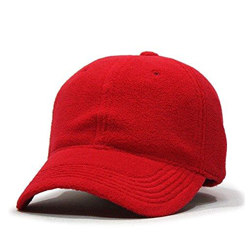 Micro Fleece Low Profile Adjustable Baseball Caps (Red)