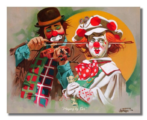 Two Clowns Playing Fiddle by Ear Wall Picture 8x10 Art Print