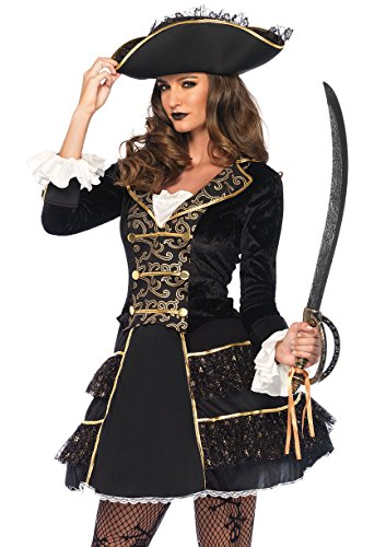 Leg Avenue Women's Dark High Seas Captain Pirate Costume, Black/Gold, Medium -