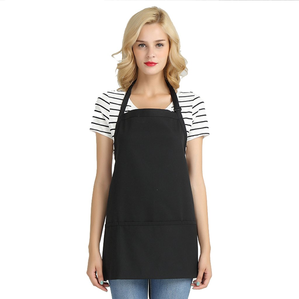 CFs uniforms Black Adjustable Hotel Restaurant Salon Kitchen bib Chef Apron for Women Korean Lovely Style with 2 Pockets