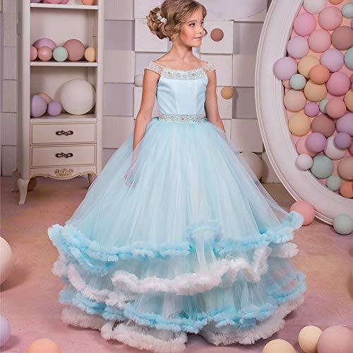 (Ybriefbag Little Girls' Ball Gown Girls Flower Pettiskirt Flower Girl Studded Sleeveless Temperament Qi Stage Wedding Dress Birthday Party Dress Dresses Kids (Size : 12-13T))