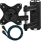 "Cheetah Mounts ALAMB Articulating Arm TV and LCD Monitor Wall Mount, for 12 to 24"" Displays up to 40 Lbs, Includes a Twisted Veins 10 Foot HDMI cable"