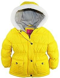 Pink Platinum Little Girls Sherpa Trim Hood Solid Puffer Winter Snow Jacket Coat, Acid Grey, 3T