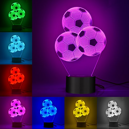 3D Night Lights  Wu Minglu 7 Color Soccer Football Desk Table Lamps With Optical Illusion Acrylic Flat Usb Chargeable For Easter Or Any Holiday Gift  Multi Colored3