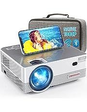 Native 1080P WiFi Proyector Bluetooth, DBPOWER 8000L Full HD Proyector de películas al aire libre compatible con iOS/Android y Zoom, Proyector de video de cine en casa compatible con ordenador portátil/PC/DVD/TV/PS4 con funda de transporte incluida