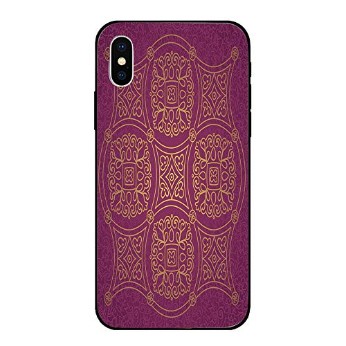 Phone Case Compatible with iPhone X BrandNew Tempered Glass Backplane,Purple Mandala,Persian Ornamental Lace Pattern Traditonal Authentic Arabic Folkloric Boho Design,Gold,Anti-Shock and Shockproof