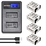 Batmax 4Packs 1250mAh AHDBT-301 GoPro Hero3 Battery Replacement + LCD Dual USB Charger for Gopro Hero 3, Gopro Hero 3+, AHDBT-301, AHDBT-302 Camera Accessories