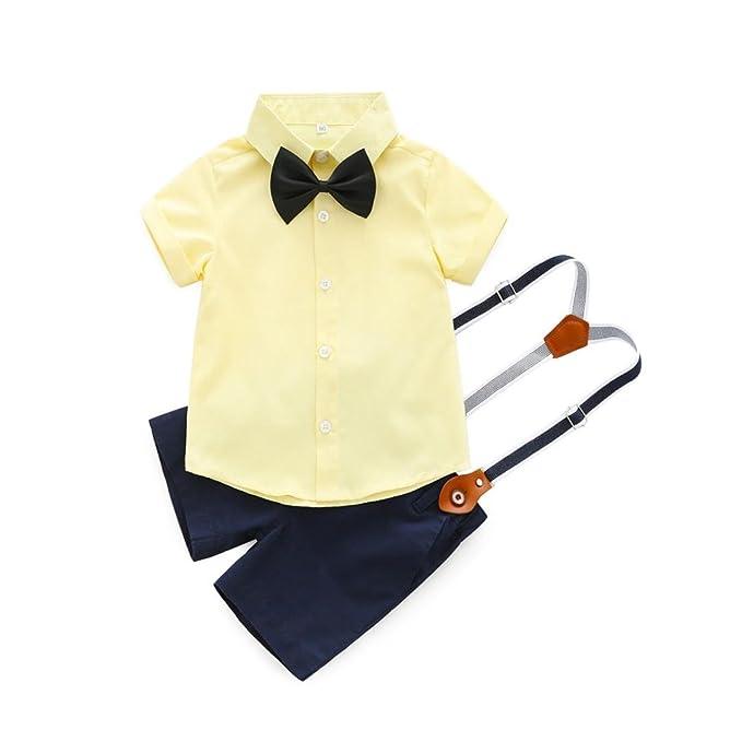 PAOLIAN Conjuntos para Bebe Niños Camisas y Pichi Verano 2018 Ropa para Recién Nacidos Niños Boda Monos Traje Fiestas Pajarita Bautizo Bodies de 6 ...