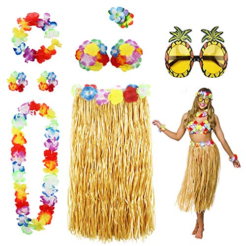 (Phogary 8 Pack Hula Skirt Costume Accessory Kit for Hawaii Luau Party - Dancing Hula with Flower Bikini Top, Hawaiian Lei, Hibiscus Hair Clip, Pineapple Sunglasses for Women)