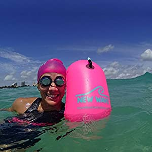 New Wave Swim Bubble for Open Water Swimmers and Triathletes - Be Bright, Be Seen & Be Safer with New Wave while Swimming Outdoors with this Safety Swim Buoy Tow Float (Pink)