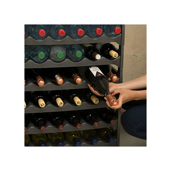 GRIZZLY Bottle Rack Stackable Modular for 36 Bottles Wine Shelf White