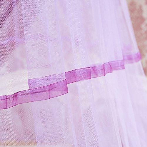 SINOTOP Mosquito Canopy for Queen Bed Double Bed Round Bet Netting Suspend Canopy Bed Mosquito Crib (Purple)