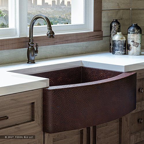 Luxury 33 inch Copper Farmhouse Kitchen Sink, Extra-thick 14-Gauge Pure Solid Copper, Artisan Hammered Finish, Single Bowl with Curved Front, includes Copper Disposal Flange, FSW1101 by Fossil Blu by Fossil Blu