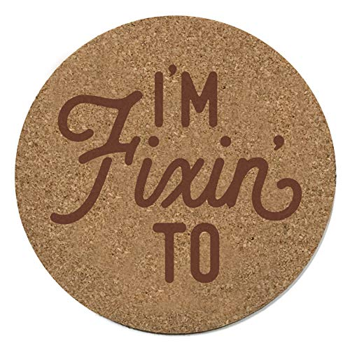 Texas Coaster Set With I'm Fixin' To Design in Cork 3.5 Inch Coasters - 4 Texas Coasters Texas ()