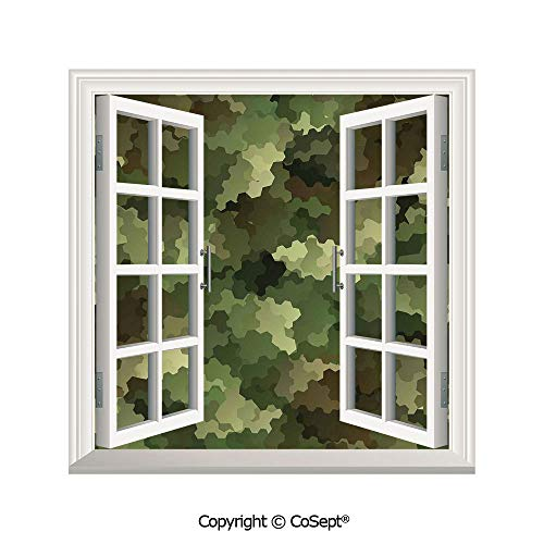 SCOXIXI Artificial Window Wall Applique Landscape Wall Decoration,Frosted Glass Effect Hexagonal Abstract Being Invisible Woodland Army,Window Decorative Decals Interior(26.65x20 -