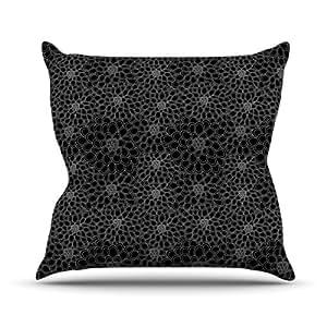 "Kess InHouse Julia Grifol ""Black Flowers"" Dark Floral Outdoor Throw Pillow, 26 by 26-Inch"