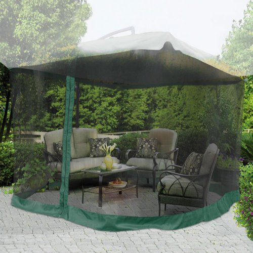 9'x9' Square 6 3/5Ft Height Patio Umbrella Mosquito Net Gazebo Top Replacement Mesh Netting Green Edge w/ Zip Entry Lightweight for Outdoor Canopy Cover Screen by Generic Brand