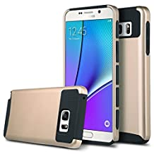 Note 5 Case, Galaxy Note 5 Case, Asstar Hybrid Dual Layer Plastic Hard Shell Flexible TPU Protective Shock Absorbing Impact Defender Slim Case Cover For Samsung Galaxy Note 5 (Gold black)