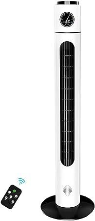 Opinión sobre FHDF Ventilador de Torre silencioso oscilante con Mando a Distancia, Portátil Bladeless aspas Tower Fans 3 velocidades 3 Modos 7.5H Temporizadorr para El Hogar Y La Oficina, H110cm (40W, Blanco)