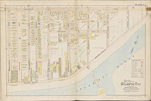 Imagekind Wall Art Print Entitled Vintage Atlantic City NJ Map (1896) by Alleycatshirts @Zazzle | 16 x 11