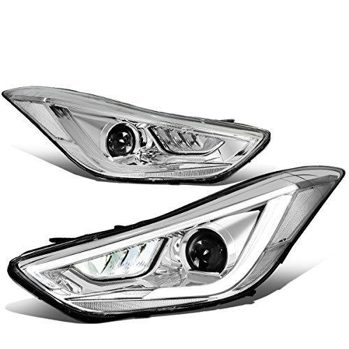 For Elantra 4Dr Sedan Chrome Housing 3D White/Amber LED DRL+Turn Signal Projector Headlight/Lamps ()