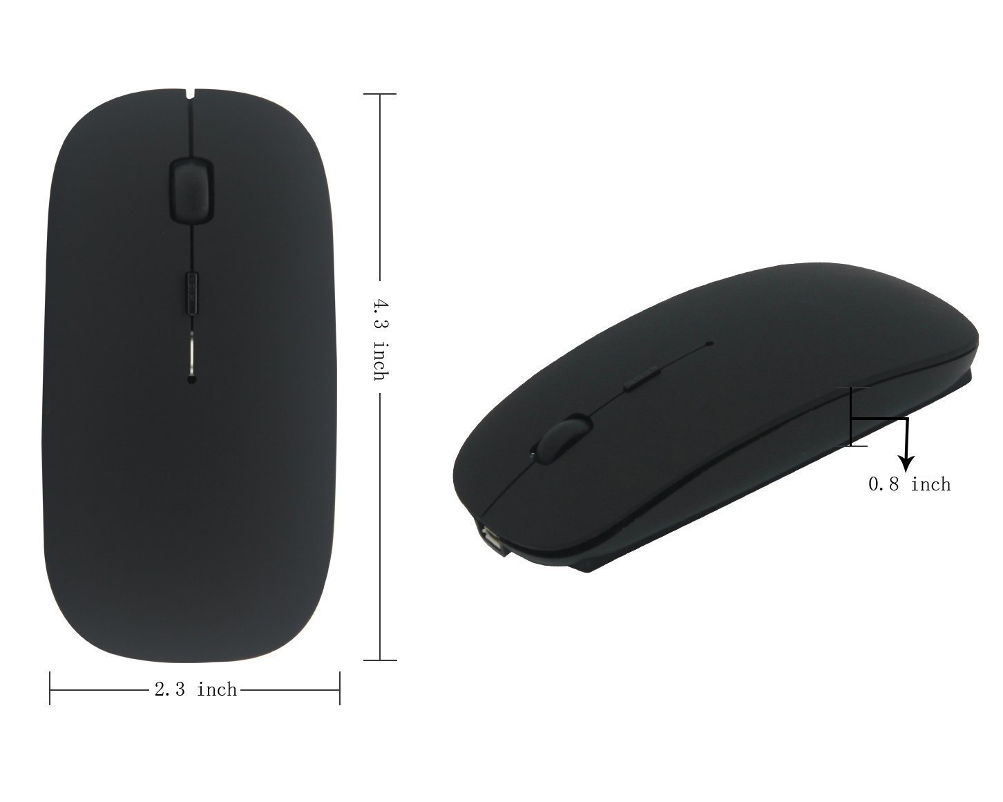 Wireless Mouse,BOOMER VIVI Rechargeable Portable Bluetooth 3.0 Slim Mice 3 Level Adjustable DPI Power-saving Model Built-in Battery with USB cable for PC Laptop Windows/Android Tablet,Mac by BOOMER VIVI (Image #8)