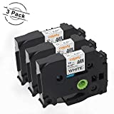 coLorty 3 Pack Compatible Brother P Touch Label Maker Tape TZe-231 TZe231 TZ-231 TZ231 Black on White 0.47 Inch 12mm x 26.2ft 8m