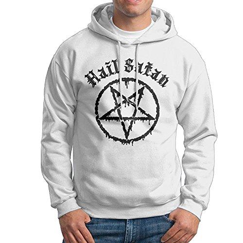 [Hail Satan Hoodie For Men Size M White] (Cute Kid Halloween Songs)