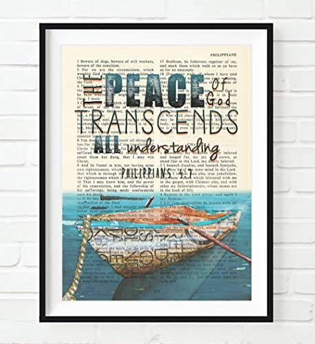 - The Peace of God transcends all understanding - Philippians 4:7 ART PRINT, UNFRAMED, Vintage Bible verse scripture page, rowboat nautical Christian wall decor poster gift, 8x10 inches