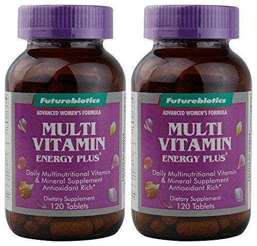 Futurebiotics Organics Multi Vitamin Energy Plus for Women (Pack of 2) with Vitamin A, C, D, E, B1, B2, Niacin, Folic Acid, B12, Biotin, Calcium, Iron, Iodine, Magnesium and Zinc, 120 Tablets Each