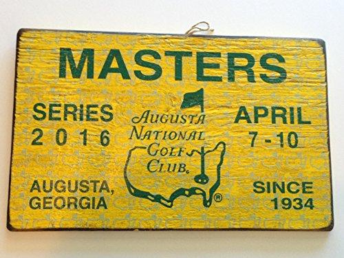 2016 Masters wood badge sign display golf tournament weekly ticket yellow vintage look